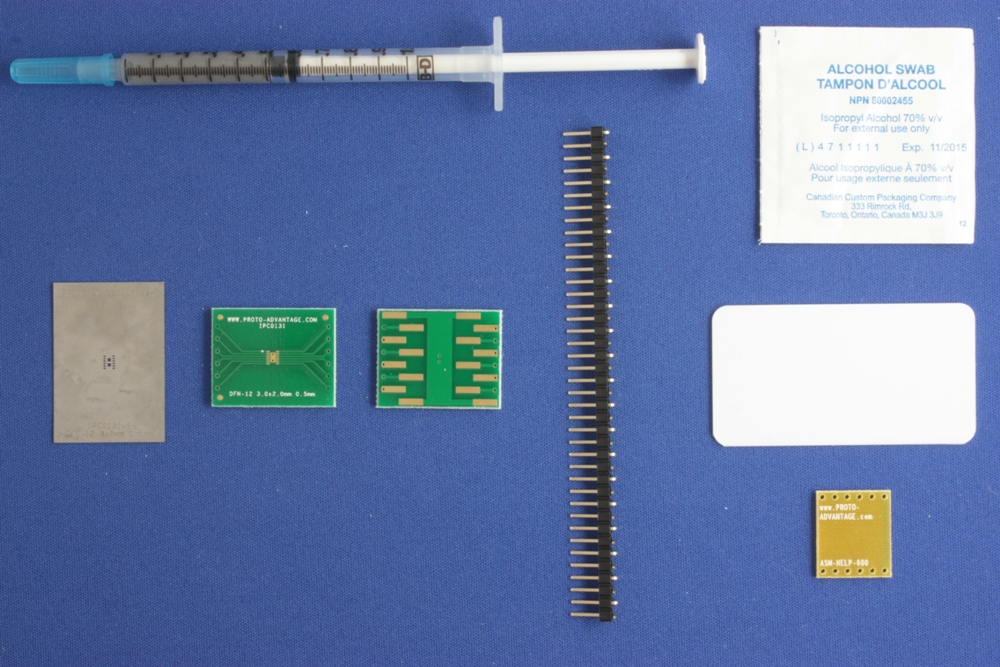DFN-12 (0.5 mm pitch, 3 x 2 mm body) PCB and Stencil Kit 0