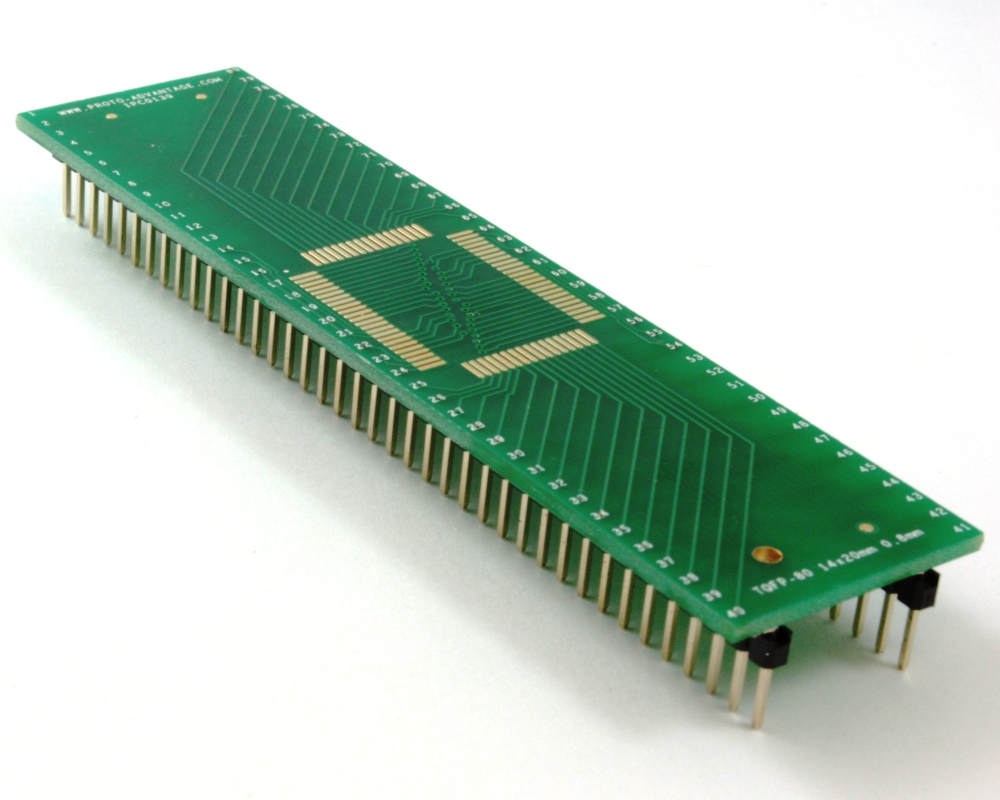 TQFP-80 to DIP-80 SMT Adapter (0.8 mm pitch, 14 x 20 mm body) 0
