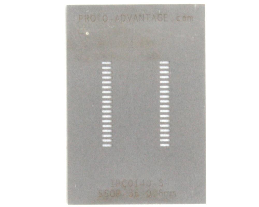 SSOP-36 (0.8 mm pitch, 15.4 x 7.5 mm body) Stainless Steel Stencil 0