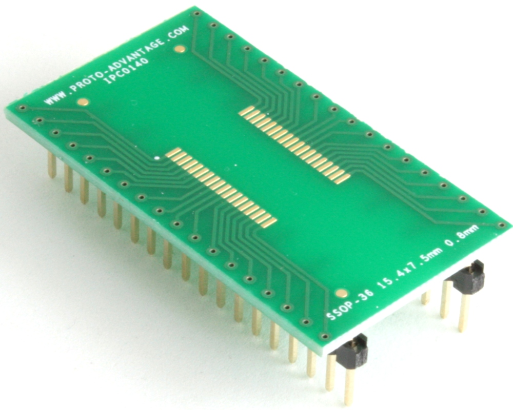 SSOP-36 to DIP-36 SMT Adapter (0.8 mm pitch, 15.4 x 7.5 mm body) 0