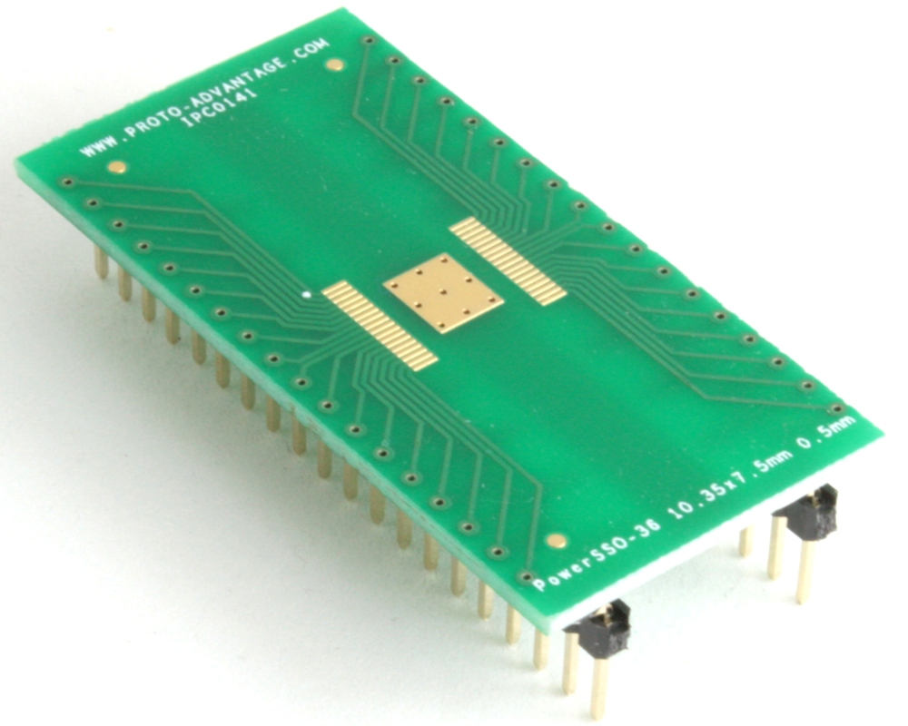 PowerSSO-36 to DIP-40 SMT Adapter (0.5 mm pitch, 10.35 x 7.5 mm body) 0