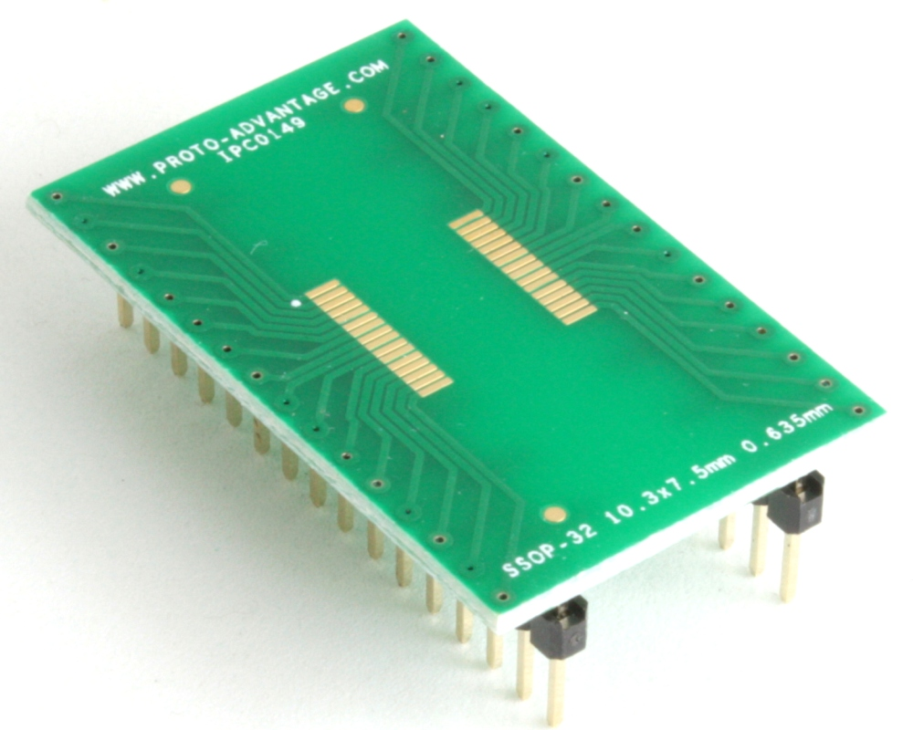 SSOP-32 to DIP-32 SMT Adapter (0.635 mm pitch, 10.3 x 7.5 mm body) 0