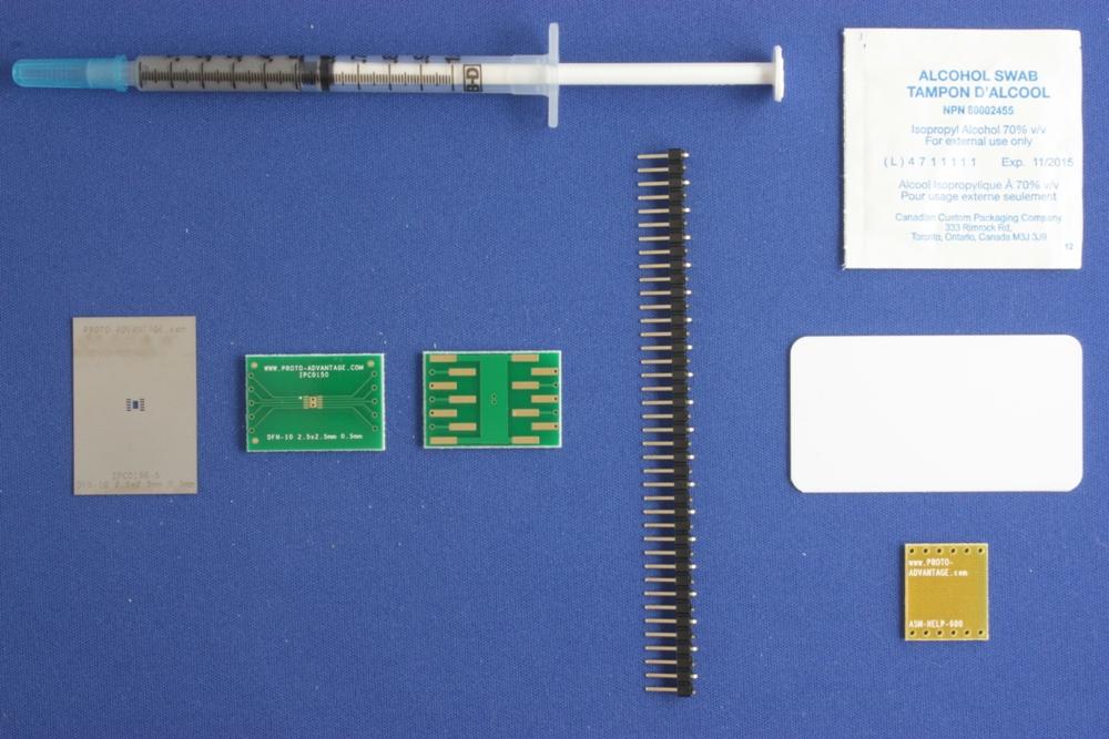DFN-10 (0.5 mm pitch, 2.5 x 2.5 mm body) PCB and Stencil Kit 0