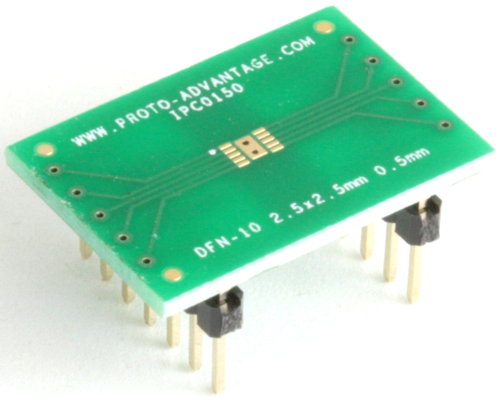 DFN-10 to DIP-14 SMT Adapter (0.5 mm pitch, 2.5 x 2.5 mm body) 0