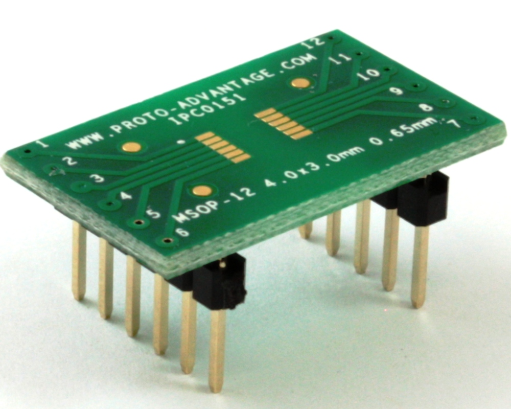 MSOP-12 to DIP-12 SMT Adapter (0.65 mm pitch, 4 x 3 mm body) 0