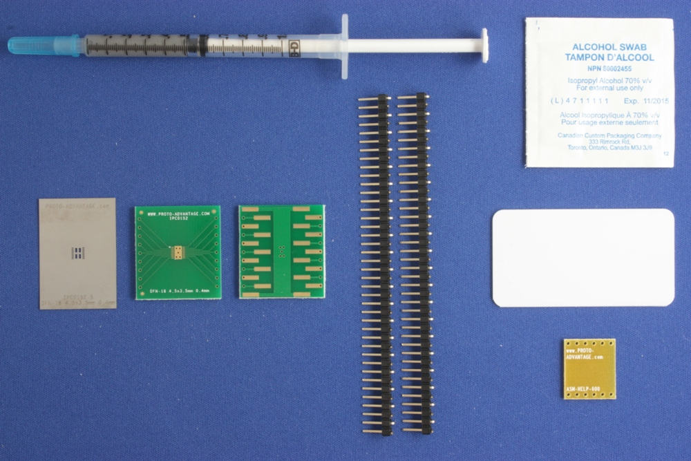 DFN-18 (0.4 mm pitch, 4.5 x 3.5 mm body) PCB and Stencil Kit 0