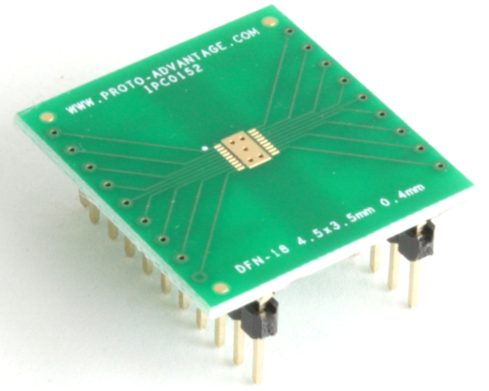 DFN-18 to DIP-22 SMT Adapter (0.4 mm pitch, 4.5 x 3.5 mm body) 0