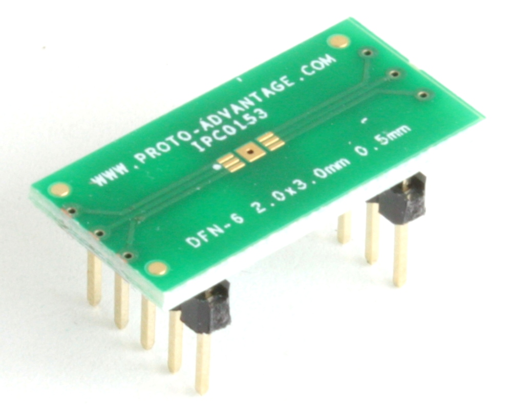 DFN-6 to DIP-10 SMT Adapter (0.5 mm pitch, 2 x 3 mm body) 0
