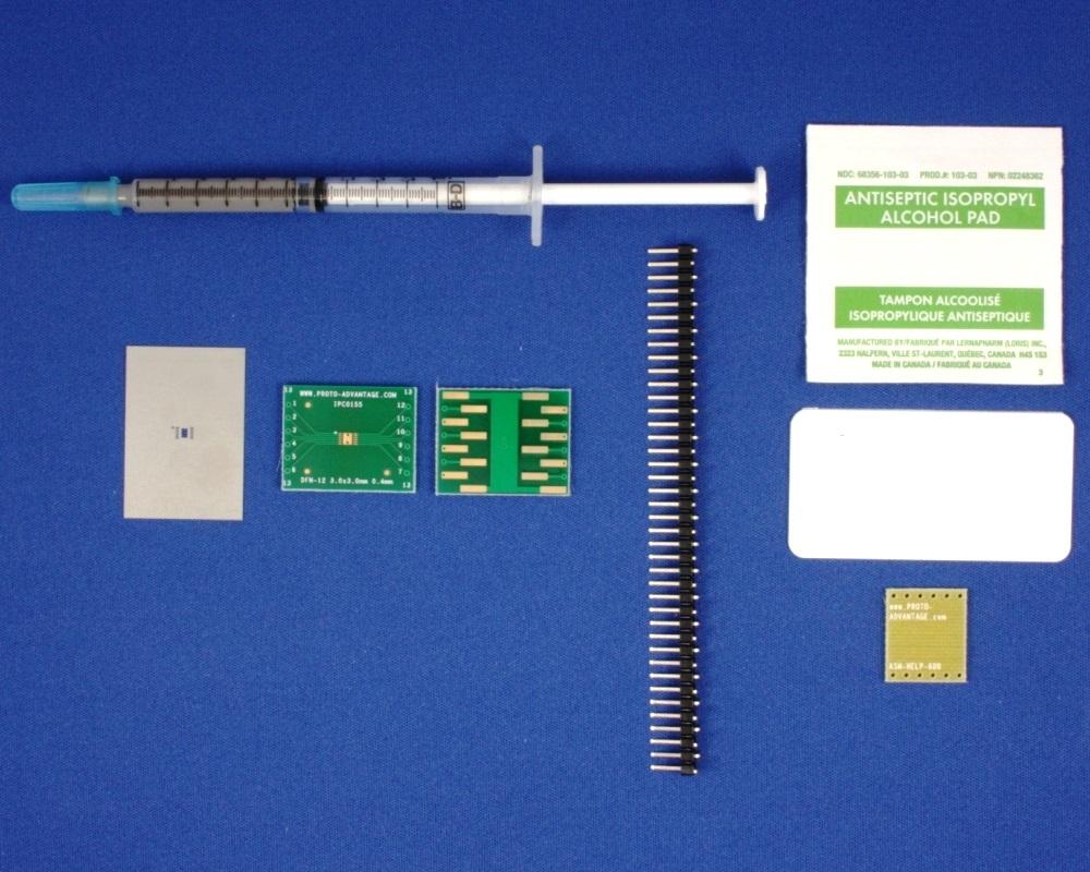 DFN-12 (0.4 mm pitch, 3 x 3 mm body) PCB and Stencil Kit 0
