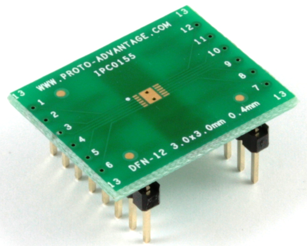 DFN-12 to DIP-16 SMT Adapter (0.4 mm pitch, 3 x 3 mm body) 0