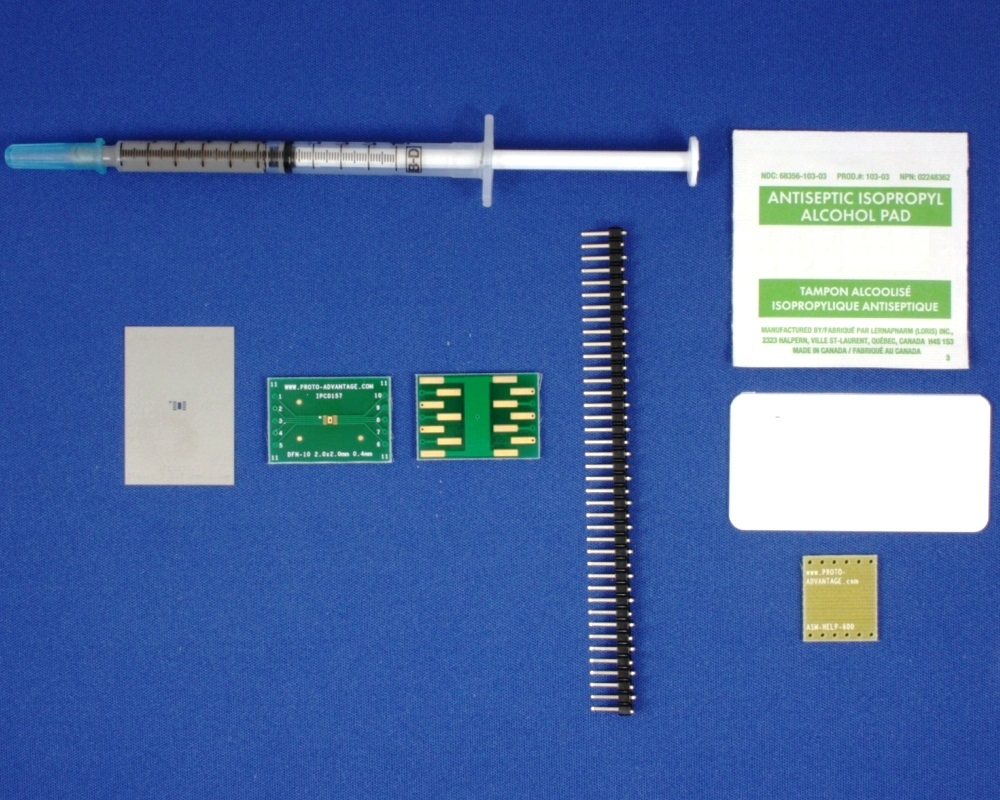 DFN-10 (0.4 mm pitch, 2 x 2 mm body) PCB and Stencil Kit 0