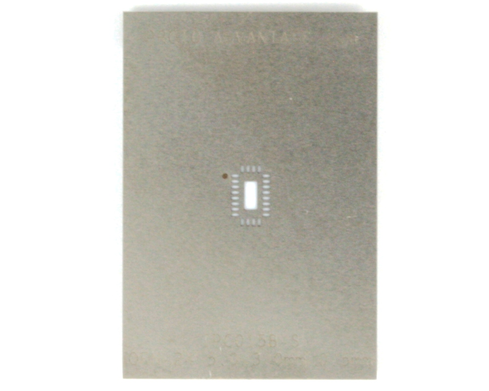 QFN-24 (0.5 mm pitch, 5 x 3 mm body) Stainless Steel Stencil 0