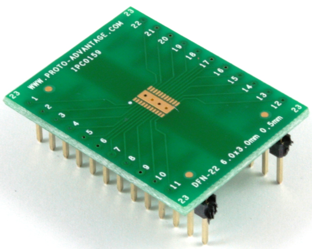 DFN-22 to DIP-26 SMT Adapter (0.5 mm pitch, 6 x 3 mm body) 0