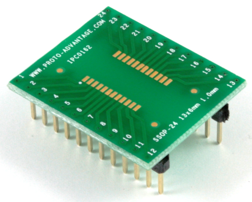 SSOP-24 to DIP-24 SMT Adapter (1.0 mm pitch, 13 x 6 mm body) 0