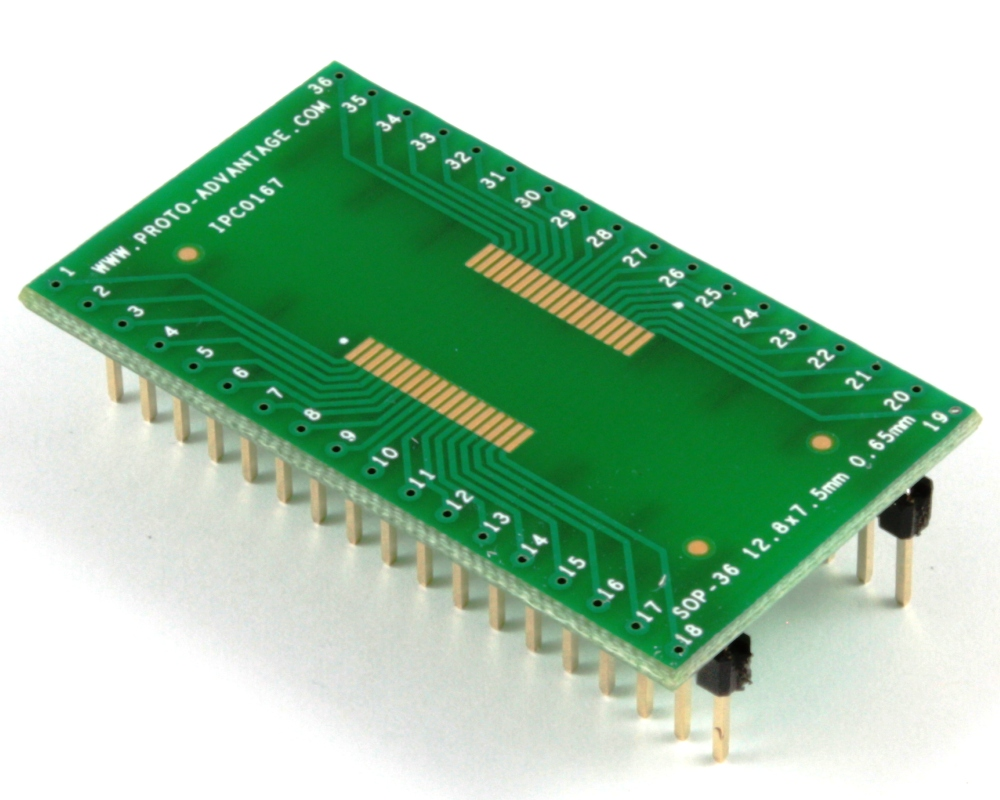 SOP-36 to DIP-36 SMT Adapter (0.65 mm pitch, 12.8 x 7.5 mm body) 0