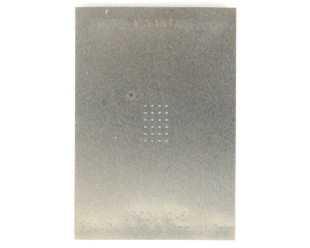 BGA-24 (1.0 mm pitch, 8 x 6 mm body) Stainless Steel Stencil 0
