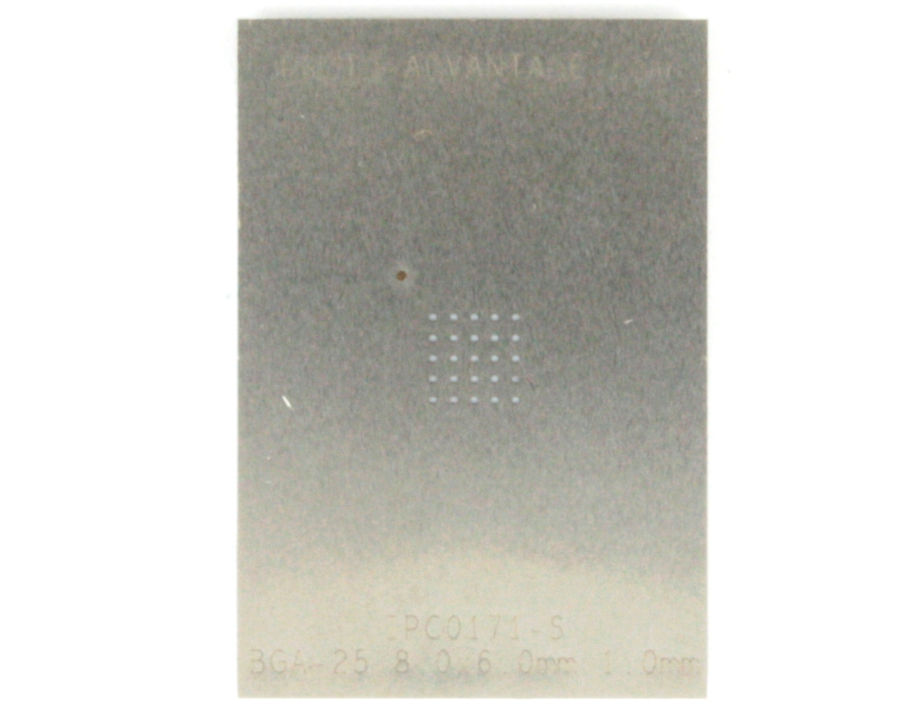 BGA-25 (1.0 mm pitch, 8 x 6 mm body) Stainless Steel Stencil 0