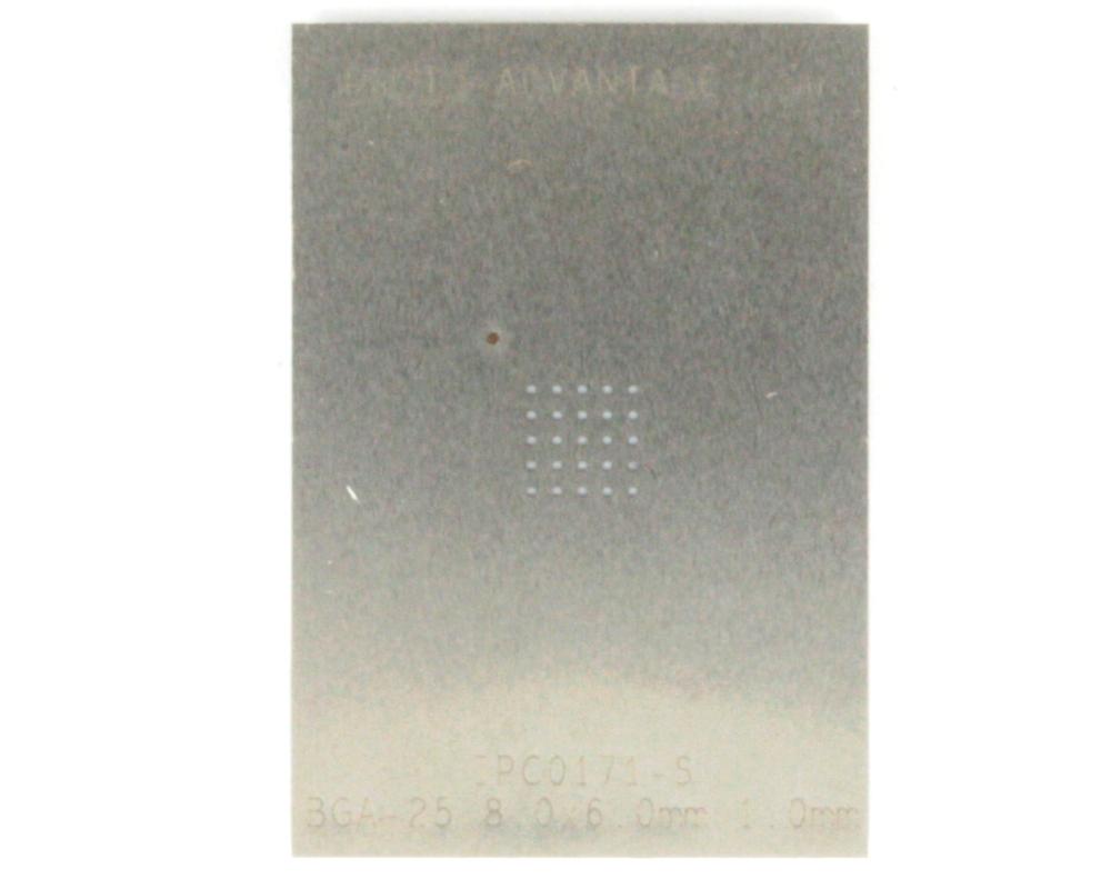 BGA-25 (1.0 mm pitch, 8 x 6 mm body) Stainless Steel Stencil 0