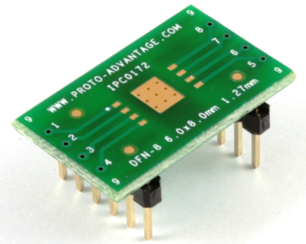 DFN-8/MLP-8 to DIP-12 SMT Adapter (1.27 mm pitch, 6 x 8 mm body) 0