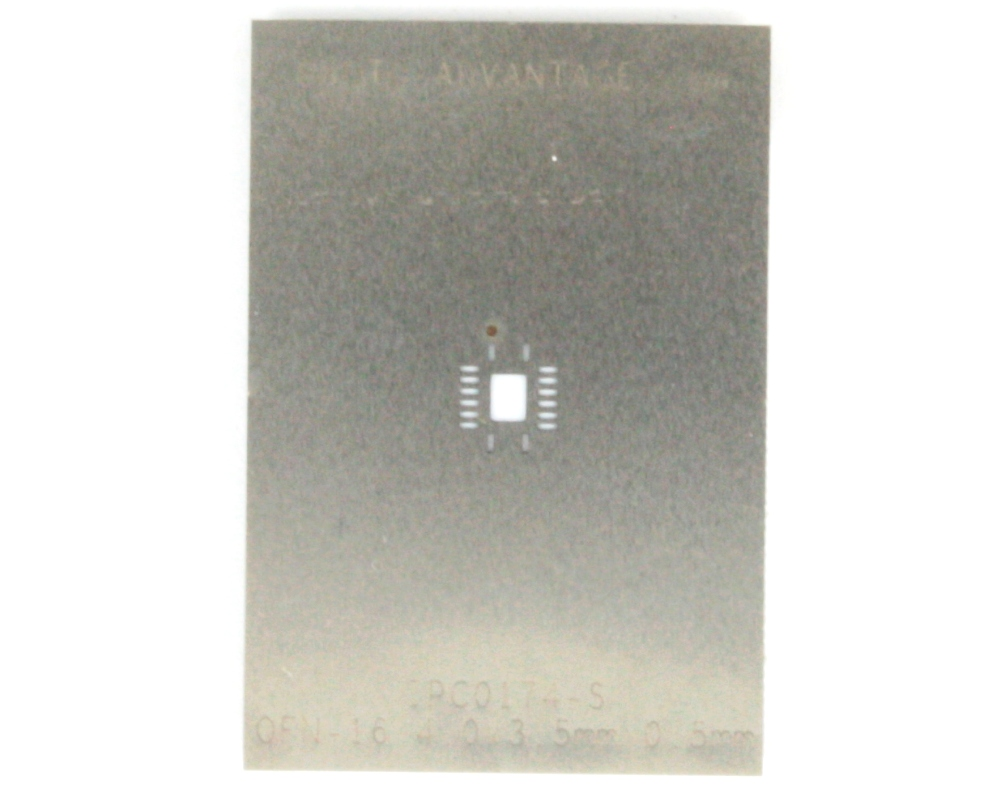QFN-16 (0.5 mm pitch, 4 x 3.5 mm body) Stainless Steel Stencil 0