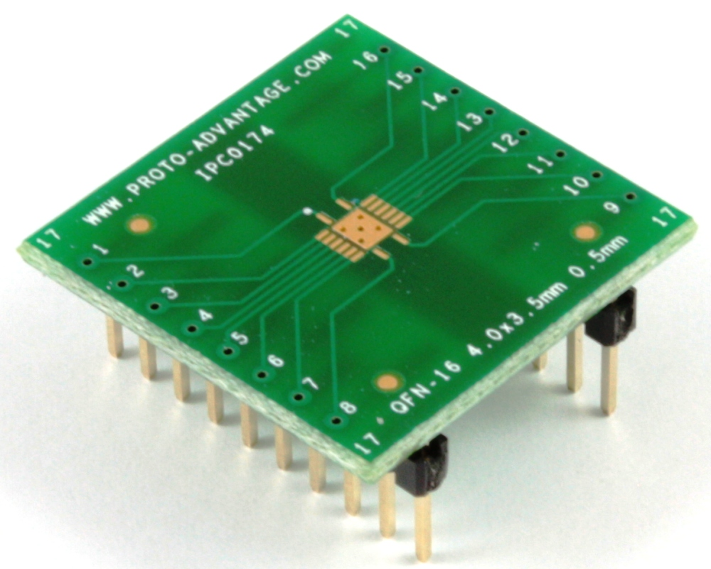 QFN-16 to DIP-20 SMT Adapter (0.5 mm pitch, 4 x 3.5 mm body) 0