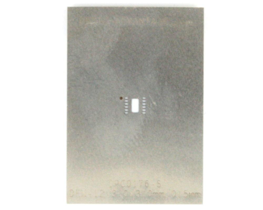 DFN-12 (0.5 mm pitch, 3 x 3 mm body) Stainless Steel Stencil 0
