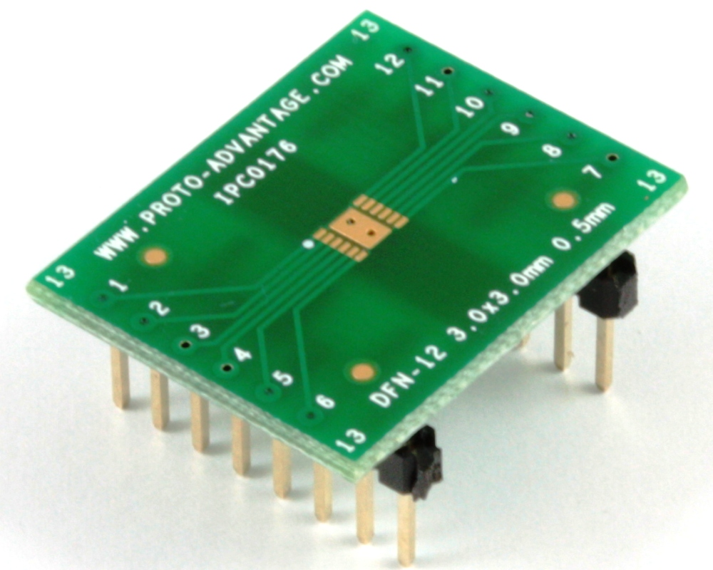 DFN-12 to DIP-16 SMT Adapter (0.5 mm pitch, 3 x 3 mm body) 0
