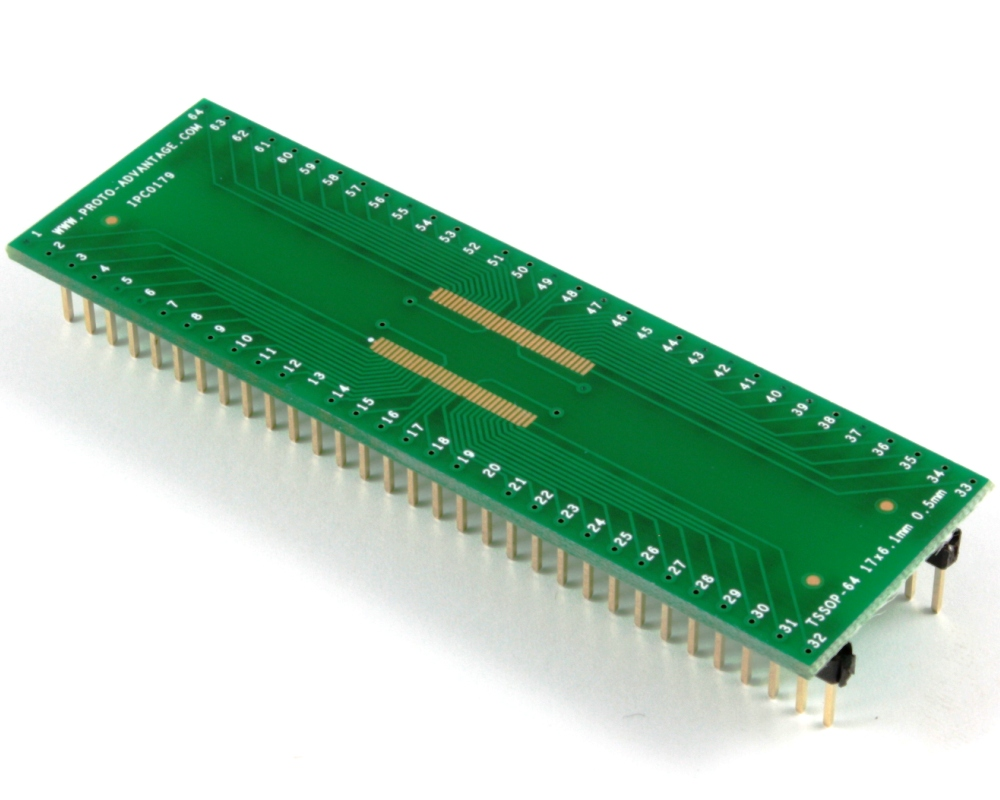 TSSOP-64 (long pins) to DIP-64 SMT Adapter (0.5 mm pitch, 17 x 6.1 mm body) 0