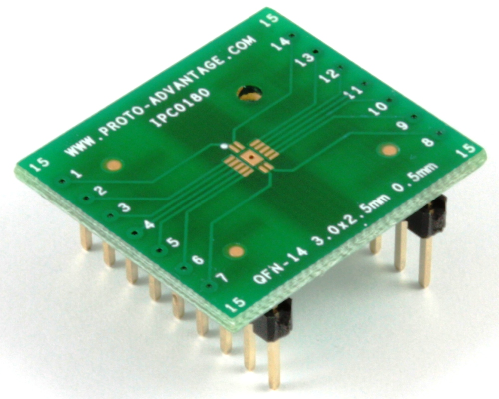 QFN-14 to DIP-18 SMT Adapter (0.5 mm pitch, 3 x 2.5 mm body) 0