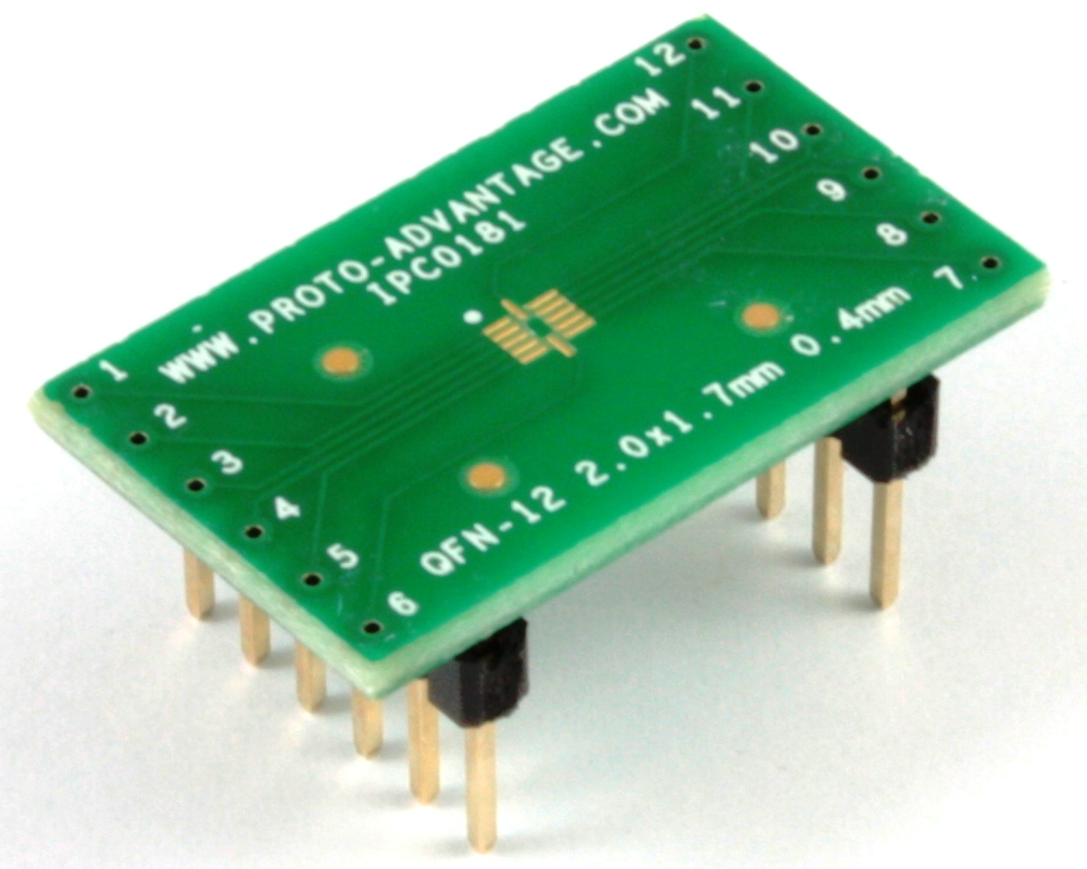 QFN-12 to DIP-12 SMT Adapter (0.4 mm pitch, 2 x 1.7 mm body) 0