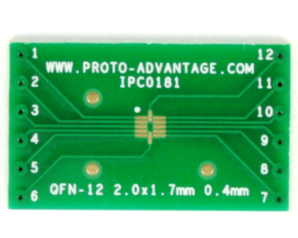 QFN-12 to DIP-12 SMT Adapter (0.4 mm pitch, 2 x 1.7 mm body) 2