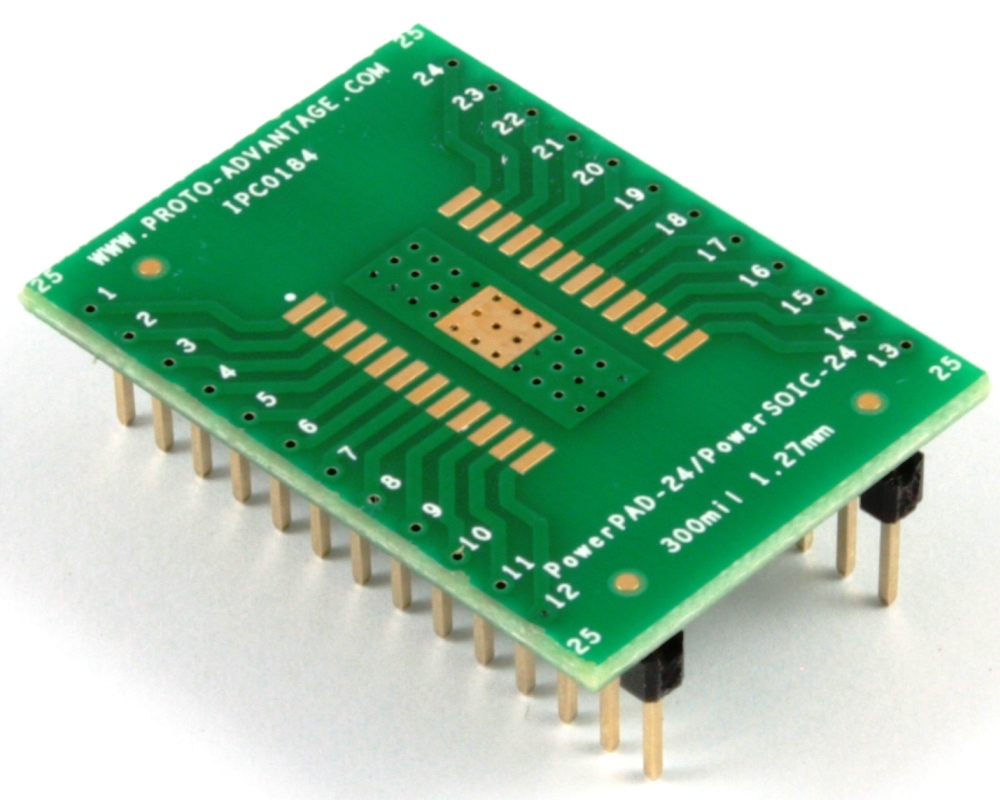 PowerPAD-24/PowerSOIC-24 to DIP-28 SMT Adapter (1.27 mm pitch, 300 mil body) 0