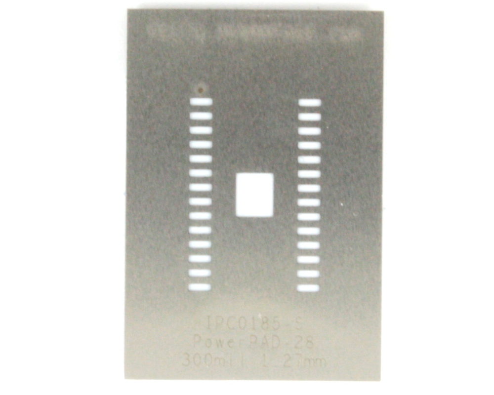 PowerPAD-28/PowerSOIC-28 (1.27 mm pitch, 300 mil body) Stainless Steel Stencil 0