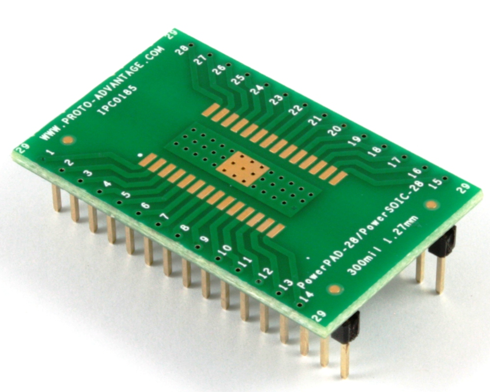 PowerPAD-28/PowerSOIC-28 to DIP-32 SMT Adapter (1.27 mm pitch, 300 mil body) 0