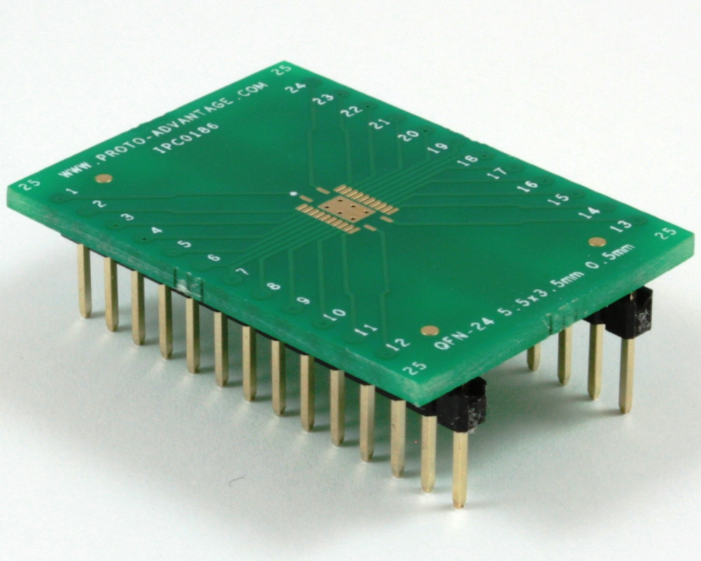 QFN-24 to DIP-28 SMT Adapter (0.5 mm pitch, 5.5 x 3.5 mm body) 0