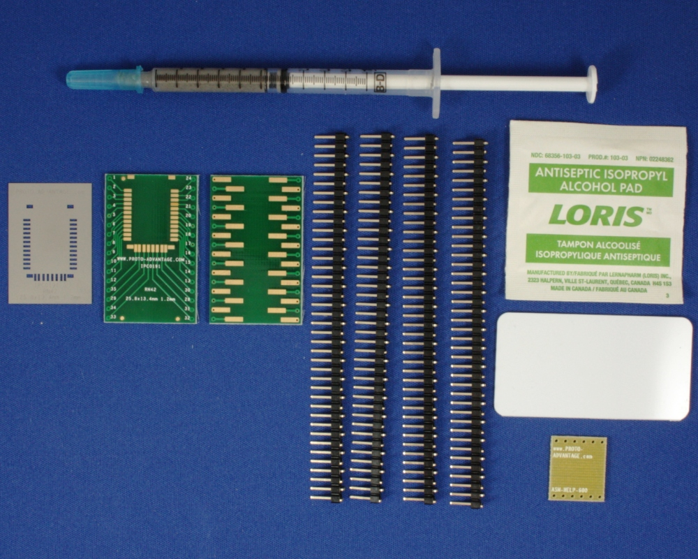RN42 (1.2 mm pitch, 25.8 x 13.4 mm body) PCB and Stencil Kit 0