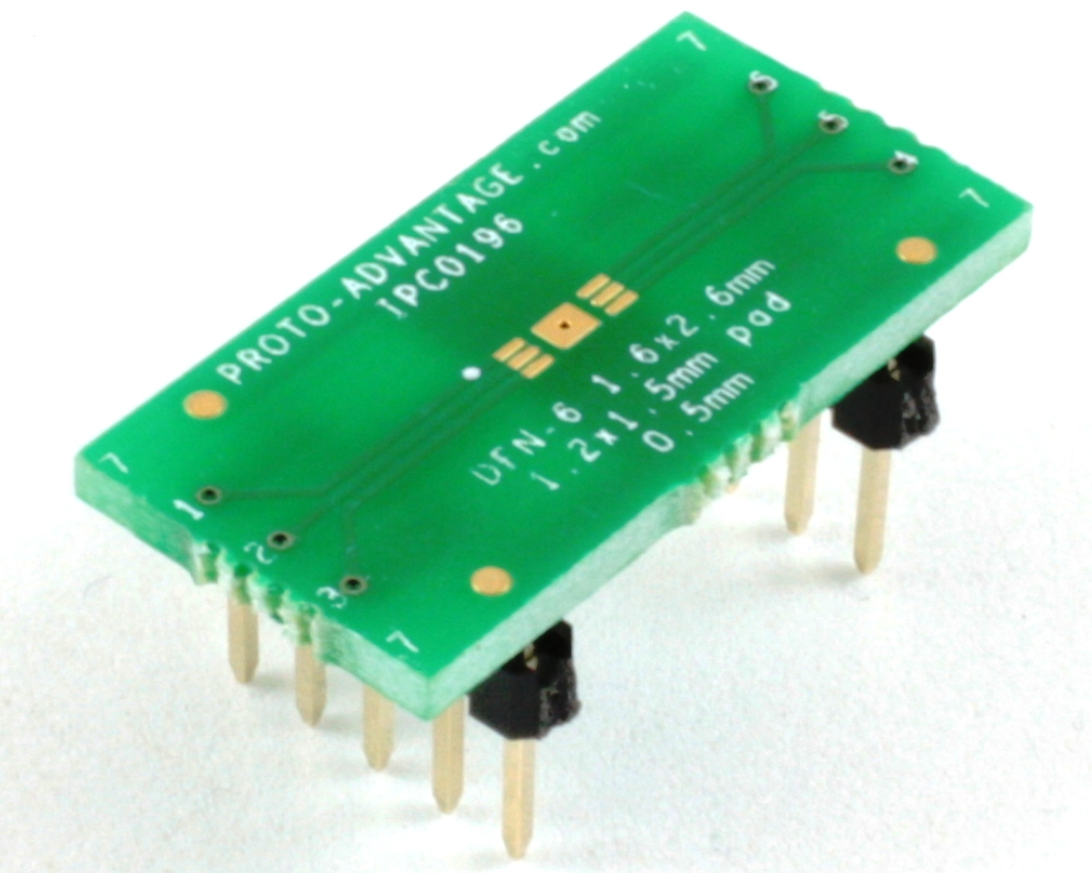 DFN-6 to DIP-10 SMT Adapter (0.5 mm pitch, 1.6 x 2.6 mm body) 0