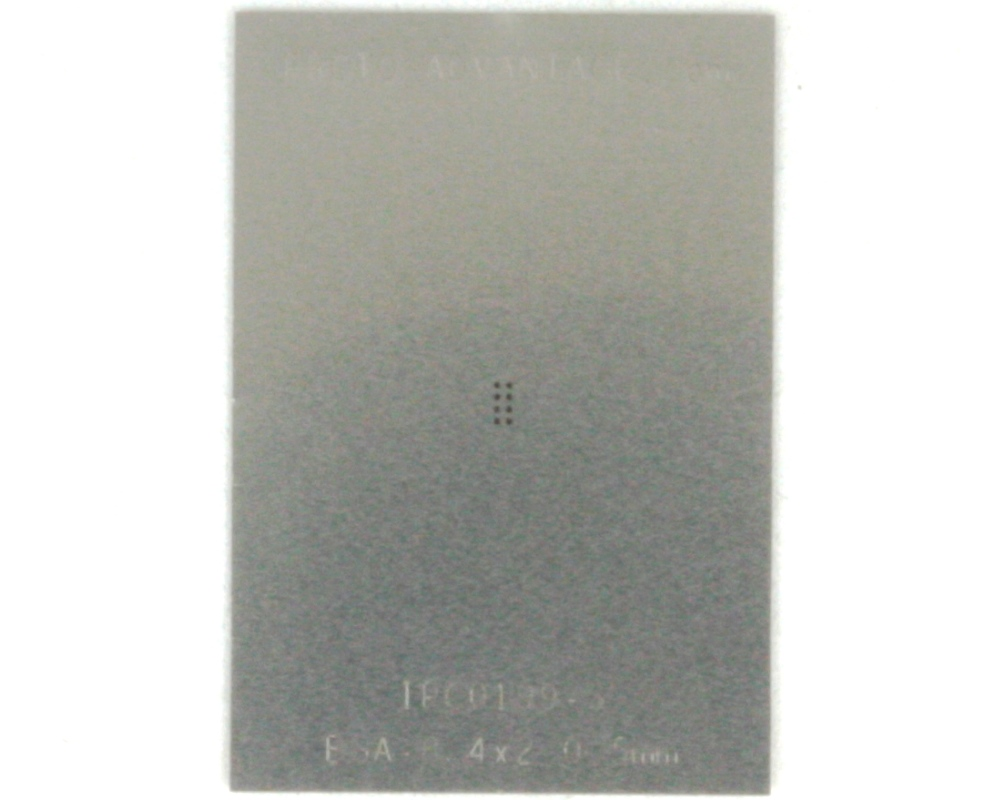 BGA-8 (0.5 mm pitch, 2 x 1 mm body) Stainless Steel Stencil 0