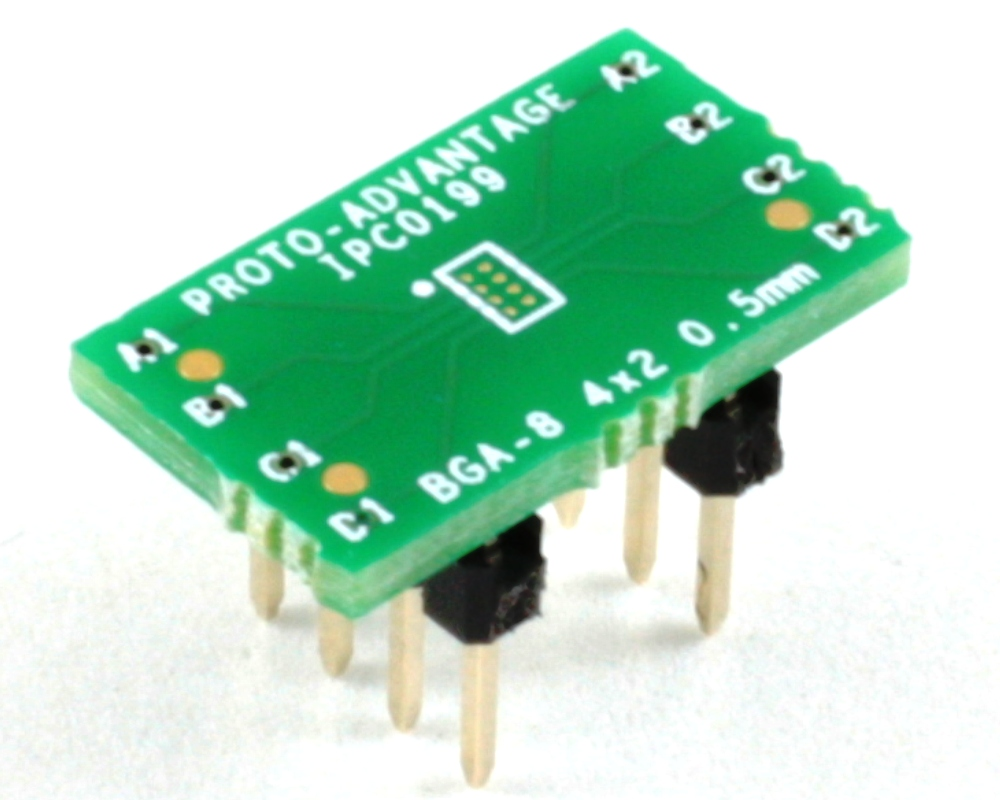 BGA-8 to DIP-8 SMT Adapter (0.5 mm pitch, 2 x 1 mm body) 0