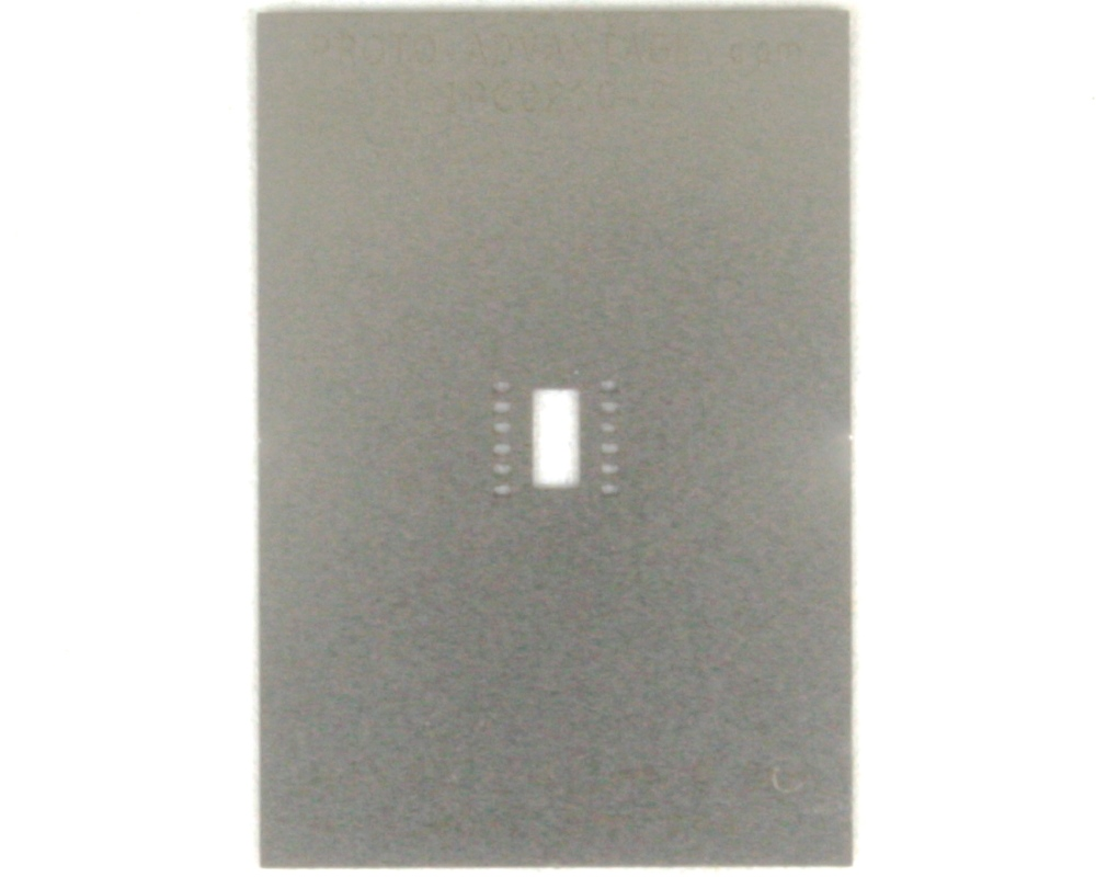 DFN-12 (0.8 mm pitch, 5 x 4.5 mm body) Stainless Steel Stencil 0