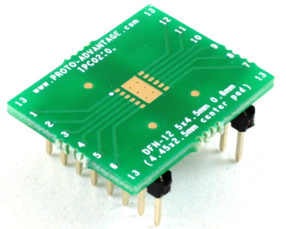 DFN-12 to DIP-16 SMT Adapter (0.8 mm pitch, 5 x 4.5 mm body) 0