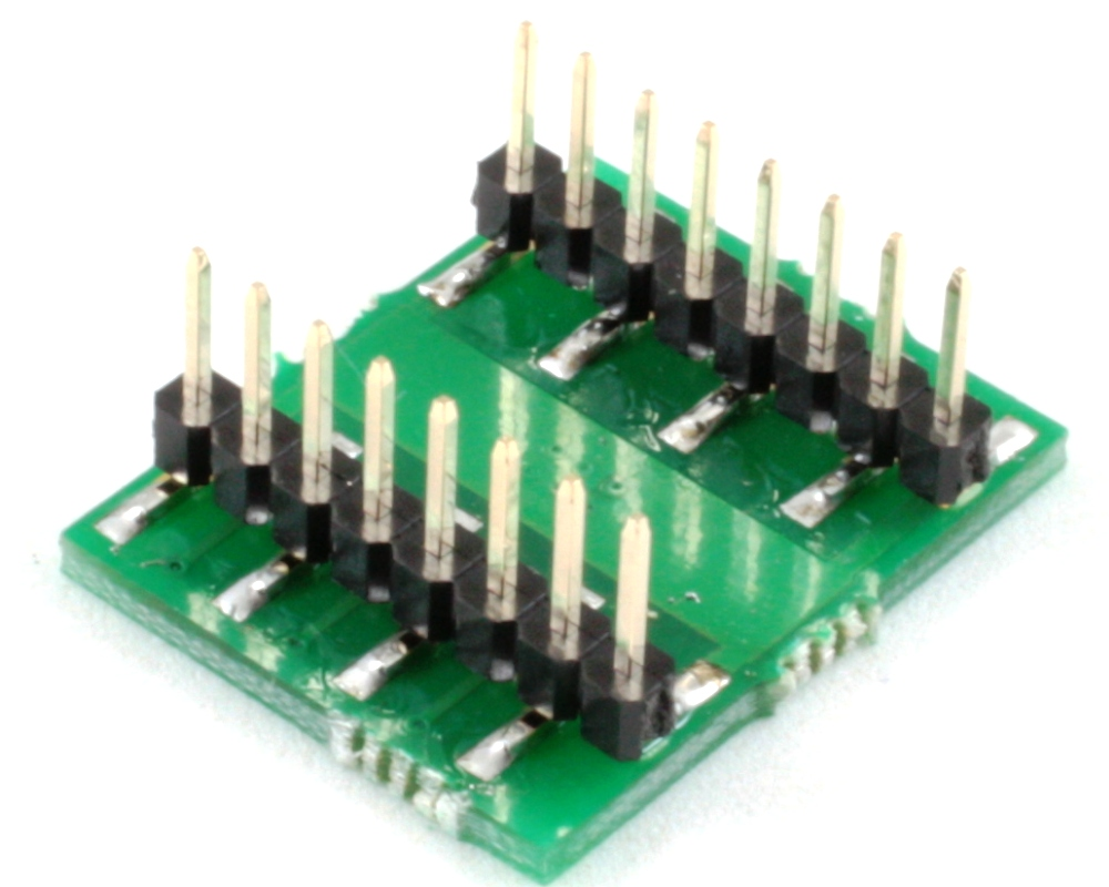 DFN-12 to DIP-16 SMT Adapter (0.8 mm pitch, 5 x 4.5 mm body) 1