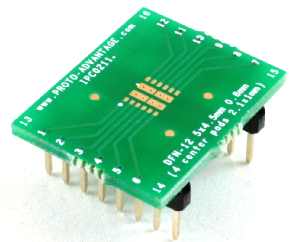 DFN-12 to DIP-16 SMT Adapter (0.8 mm pitch, 5 x 4.5 mm body, 4 split pads 2.1x1) 0