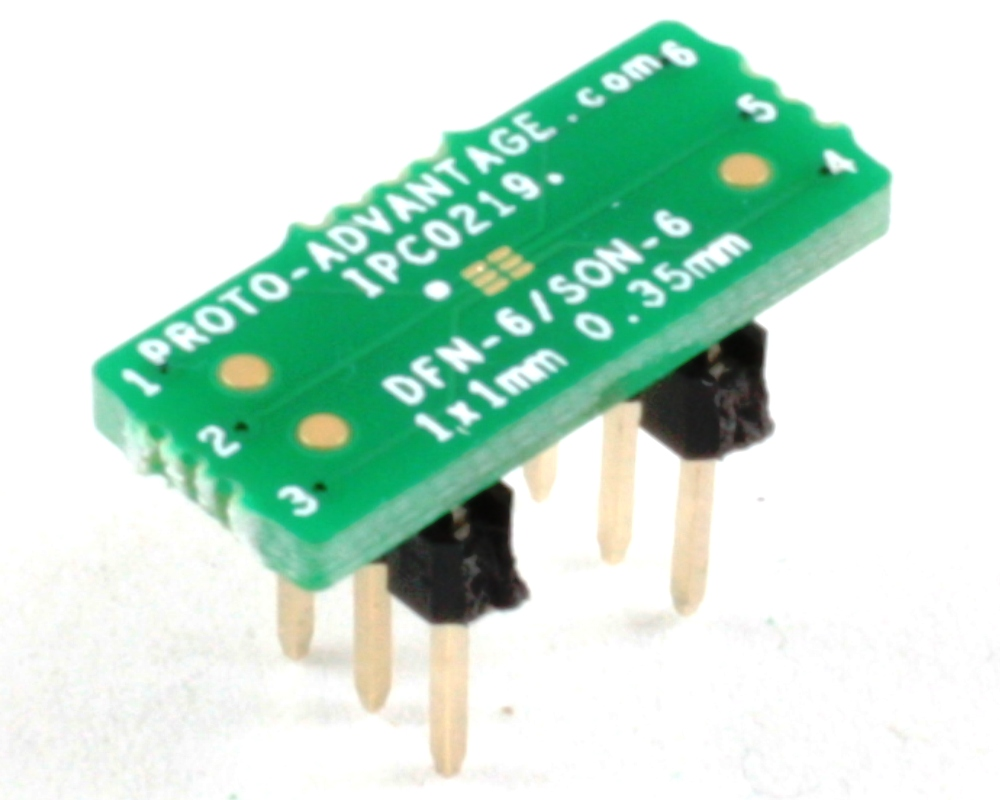 DFN-6/SON-6 to DIP-6 SMT Adapter (0.35 mm pitch, 1 x 1 mm body) 0