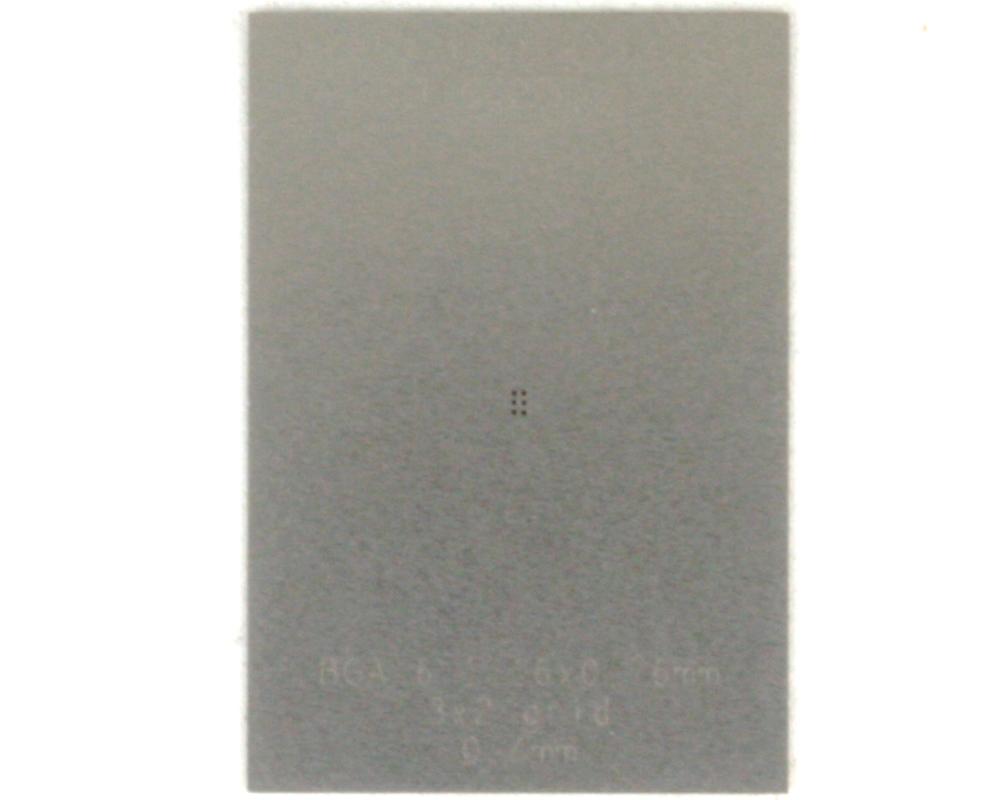 BGA-6 (0.4 mm pitch, 1.16 x 0.76 mm body) Stainless Steel Stencil 0