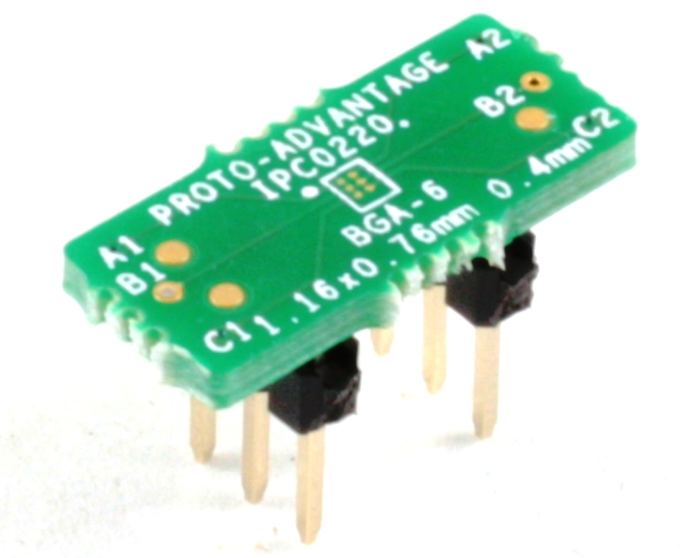 BGA-6 to DIP-6 SMT Adapter (0.4 mm pitch, 1.16 x 0.76 mm body) 0