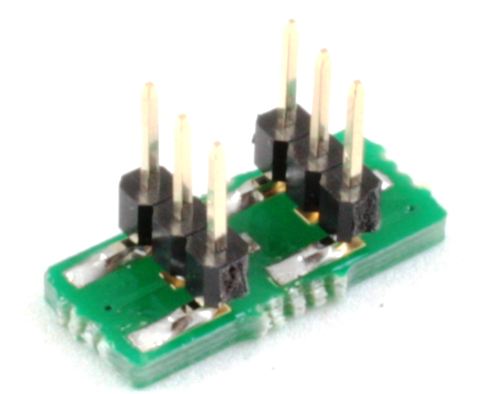 BGA-6 to DIP-6 SMT Adapter (0.4 mm pitch, 1.16 x 0.76 mm body) 1