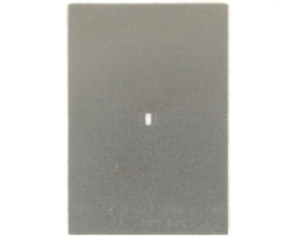 DFN-12 (0.4 mm pitch, 2.5 x 2.5 mm body) Stainless Steel Stencil 0