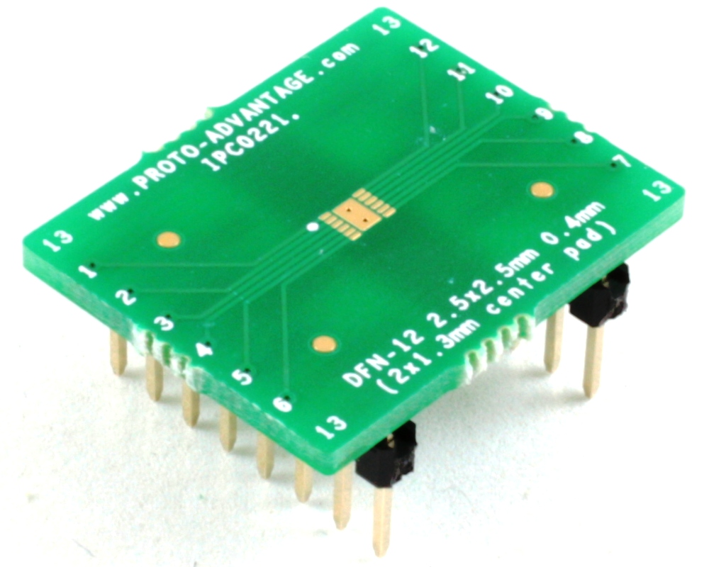 DFN-12 to DIP-16 SMT Adapter (0.4 mm pitch, 2.5 x 2.5 mm body) 0