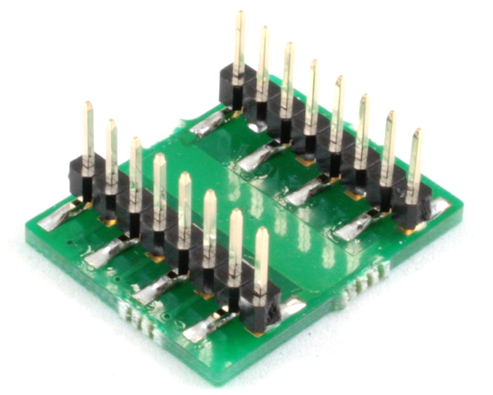 DFN-12 to DIP-16 SMT Adapter (0.4 mm pitch, 2.5 x 2.5 mm body) 1